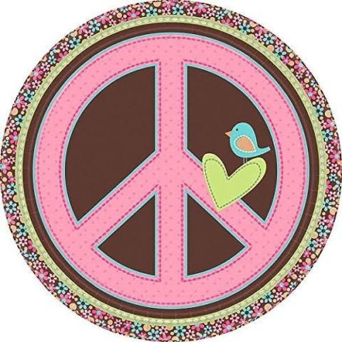 8 Teller * FLOWER POWER * für Kindergeburtstag oder Motto-Party // Kinder Geburtstag Party Partyteller Pappteller Plates Motto Hippie Girls Rock Mädchen Peace (Blumen Pappteller)