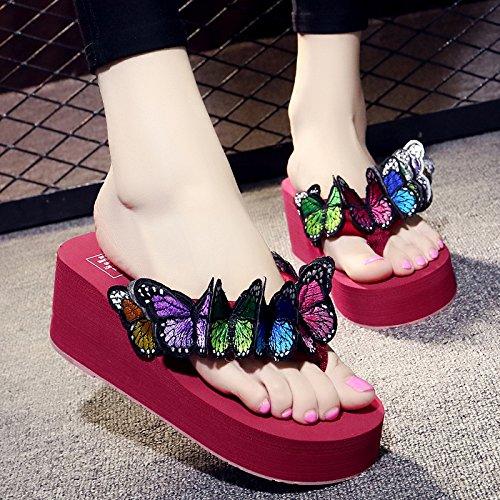 FLYRCX Farfalla a mano pantofole ladies' estate tacco di pendenza Beach casual flip flop c