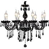 Sailun Lampadario a sospensione di cristallo classico, in ottone, nero,  5/6/810 + 5 Fiamme E14 8 Lichter
