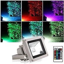 Projecteur LED Extérieur RGB/RVB 10W Etanche IP65 Blinngo Prise EU 16 Couleurs Changeant avec Télécommande pour Noël pour Jardin,Scène de Paysage,de l'Eclairage Spot,Hôtels