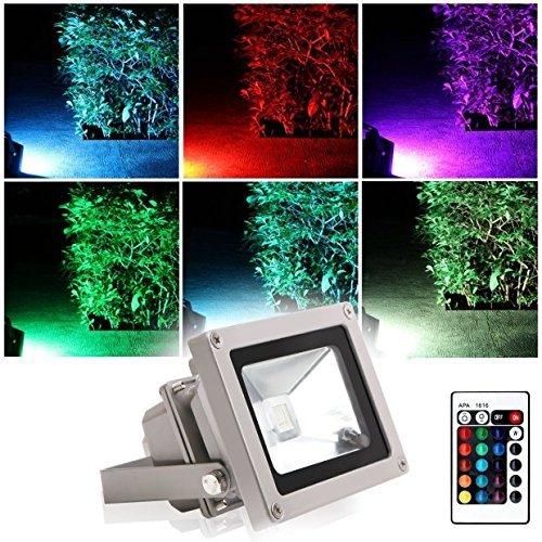 Projecteur LED Extérieur RGB/RVB 10W Etanche IP65 Blinngo Prise EU 16 Couleurs Changeant avec Télécommande pour Noël, Jardin,Scène de Paysage,de l