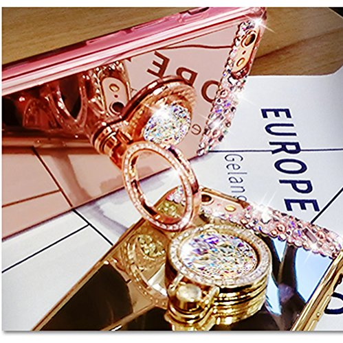 Cover iPhone 6sPlus, Lusso Specchio CLTPY iPhone 6Plus Custodia Silicone Morbido Telaio di Placcatura in Oro Rosa con Diamante Glitter e Supporto per Anelli per Apple iPhone 6Plus/6sPlus + 1 x Stilo L Oro
