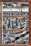 Monocrome, Dubai Hotel Burj al Arab Fenster im 3D-Look, Wand- oder Türaufkleber Format: 62x42cm, Wandsticker, Wandtattoo, Wanddekoration