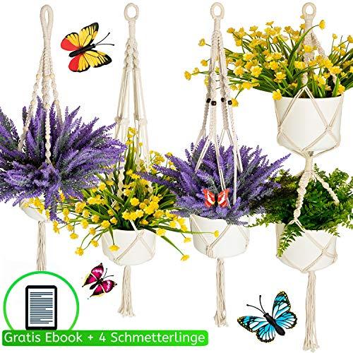 Migarda® - Makramee Blumenampel - 4er Set für 5 Blumentöpfe hängend - 4 Schmetterlinge - Deko Baumwollseil Hängeampel zum Aufhängen außen und innen - ohne Pflanzen Blumen Topf - inkl. eBook