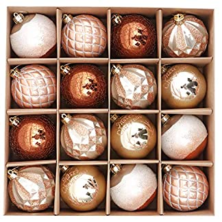 Valery Madelyn 16 Piezas Bolas de Navidad de 8cm, Adornos Navideños para Arbol, Decoración de Bolas de Navidad Inastillable Plástico de Cobre y Dorado, Regalos de Colgantes de Navidad (Bosque)