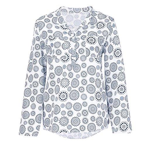 JUTOO Frauen Plus Size Print Langarm Polka Dot Knopf Bluse Pullover Tops Shirt(Weiß,EU:44/CN:XL)