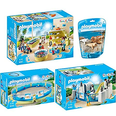 PLAYMOBIL® Family Fun set en 4 parties 9061 9062 9063 9069 boutique aquarium + piscine penguin + bassin de vie marine + sceller avec