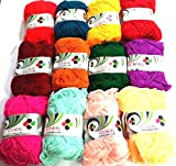 #7: Lovely Arts Collection's 12 Small Size Rainbow Colour Wool ball Knitting yarn, Crochet Yarn, Craft wool yarn