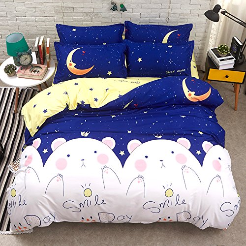 KFZ Bett Set (Zwei Full Queen King Size) [4 Stück: Bettbezug, Bettlaken, 2 Kissenbezüge] keine Tröster KSN Cute Kaktus Eistüte Crown Bear Moon Happy Car Gold Morning Glory Fruit Cartoon Design für Jugendliche, Kinder, Erwachsene, Microfaser, Crown Bear Moon, Blue, Queen 78