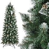 FairyTrees Albero di Natale Artificiale Slim, Pino innevato Bianco Naturale, Materiale PVC, Vere pigne, incl. Supporto in Metallo, 150cm