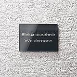 Namensschild - Türschild - Edelstahl & Acrylglas - inkl. Beschriftung in 3D-Tiefengravur (100 x 40 mm, Anthrazit (RAL7016))