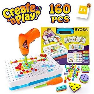 SYOSIN Taladro Juguete Desmontable Bricolaje Bloques Construccion con Motricidad Fina Destornillador Kit Mosaico Infantiles Juegos creativos Regalos para Niños 3 4 5 6 7 años (144 Piezas)