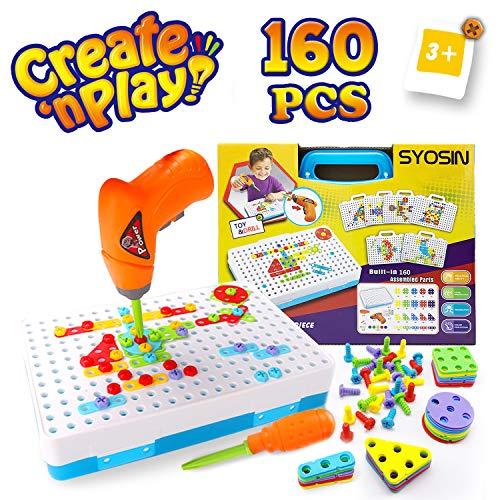 SYOSIN Trapano Giocattolo 3D Puzzle con Cacciavite Chiodini Mosaico Giochi Educativi Costruzioni STEM Educativi Giocattoli Montessori per Bambini 3 4