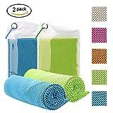 VILAVIVI 2PCS Kühlhandtuch Kühlendes Handtuch, Mikrofaser Kalte Sport Handtücher