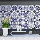 JY ART Fliesen Aufkleben Wandkunst Fliesentransfers Wandgemälde Fliesentransfers Blaues und weißes Muster wasserdicht ölbeständig Fliesenaufkleber Home Moderne Dekoration, 20cm*5m