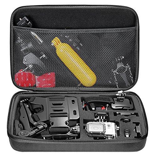 Neewer EVA - Funda de transporte a prueba de golpes para GoPro Hero Session / 5 Hero 1 2 3 3+ 4 5 6 SJ4000 5000 6000 APEMAN WiMiUS Rollei QUMOX y accesorios con mango de gran tamaño, Negro, 32.5 × 21.5 × 6.3 cm
