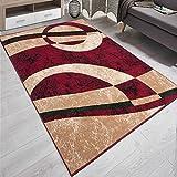 Designer Teppich Modern Kreis Muster Meliert In Rot Beige - ÖKO TEX (160 x 220 cm)