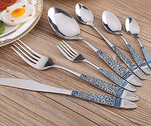 RENMEN 7 stücke Edelstahl Besteck Blumen Gravieren Geschirr Set Steak Messer Gabel Geschirr Restaurant Picknick Geschirr