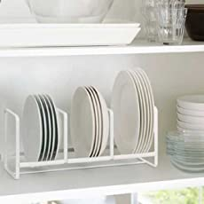 NAOE Steel Plate Rack with Three Partitions (13 X 6 X 6 in)(White)