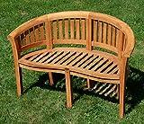 ASS Teak XL Bananenbank Gartenbank Parkbank Sitzbank 2-Sitzer Bank Gartenmöbel 120cm Holz Sehr Robust Model JAV-Coco von Vergleich