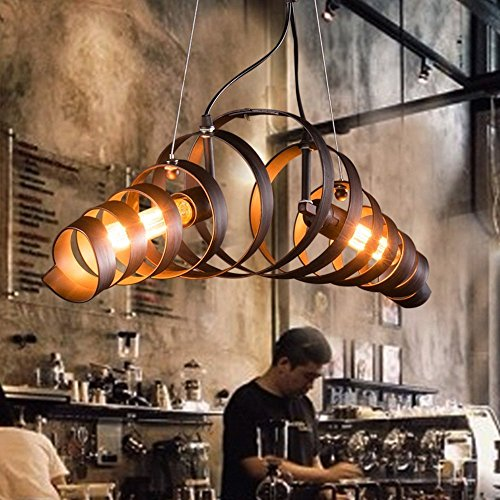 KJLARS Lámpara LED Lámpara de Techo Vintage Colgante de Luces E27 Bombilla, lámpara de estilo industrial Iluminación colgante Es Adecuado para Cocina, Cafetería, Bar, mesa de comedor