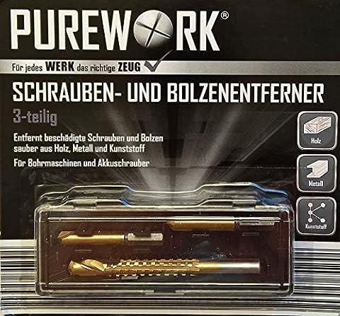 PUREWORK® Schrauben- & Bolzenentferner - HSS Ausdreher - 3 Ausdreh-Bits im Set für Bohrmaschinen und
