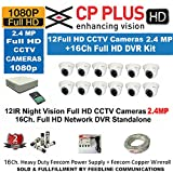 CP Plus 16-Channel DVR KIT with 2-TB Hard Disk, 2-PC 2.4MP Dome Camera & 8-PC Bullet Metallic 2.4MP, 16-CH Power Supply & 1-PC Wire ROLL (Sold and Dispatch by Feedline Trusted by Amazon)