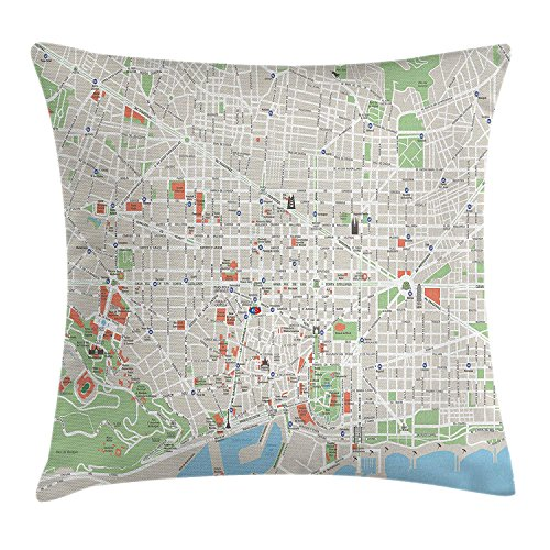 Yinorz Map Throw Pillow Cushion Cover, Map of Barcelona City Streets Parks Subdistricts Points of Interests, Decorative Square Accent Pillow Case, 18 X 18 Inches, Beige Lime Green Light Blue