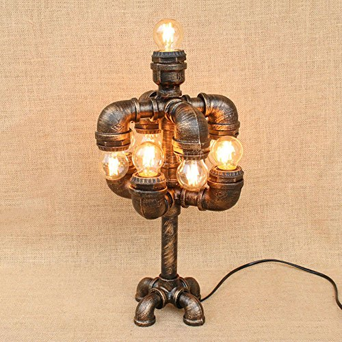 Pumpink Weinlese-Wasser-Rohr-industrielle Eisen-Tabellen-Lampen-antike amerikanische neun kennzeichnet Kunst-Stehlampen-Tabellen-Licht für Nachttisch-Schreibtisch-Stall-Dekorations-Roboter Steampunk Leselampe (Antik-stall)