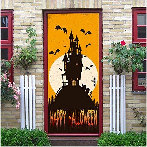 Newberli Orange Hintergrund Weiß Mond Fledermaus Schwarz Schloss Silhouette Aufkleber Home Halloween Dekoration Neu QualifiziertNeu Türaufkleber