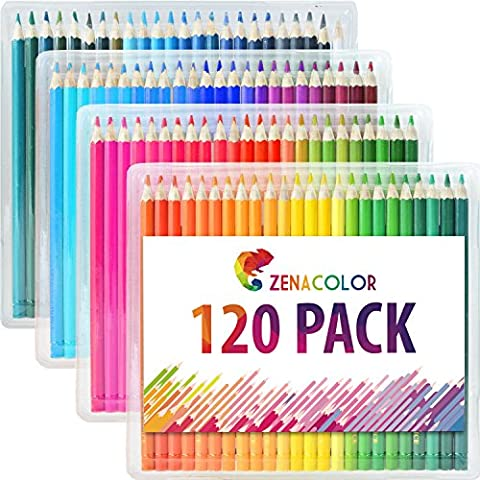 Coloured Pencils Set (120 Pack) By Zenacolor- Best Coloured Art Pencils For Kids & Adults, Artists & Sketchers - Perfect for Adult Colouring, School Projects, Doodling, &
