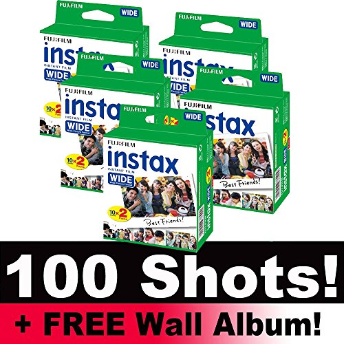 Fujifilm Instax Wide Film Bundle Pack (100 disparos) + incluye álbum de pared.