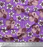 Soimoi Violet Mousse Georgette en Tissu Feuilles et Lily Floral Tissu a Coudre Imprime par Metre 42 Pouce Large