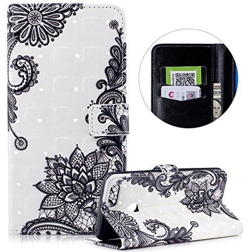 kompatibel mit Huawei Honor 7X Hülle,Huawei Honor 7X Leder Hülle,3D Gemalte Muster PU Leder Flip Hülle Wallet Tasche Schutzhülle Handyhüllen für Huawei Honor 7X Brieftasche - Schwarze Spitze Blumen -
