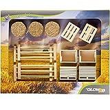 Unbekannt Spielzeug-Bauernhof Zubehör Set 17 teilig, Kisten, Paletten etc. - Heu Zaun Kisten Paletten Holz