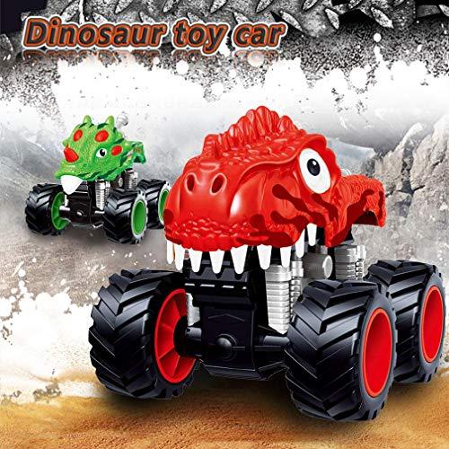dinosaurier auto zurückziehen spielzeug,Womdee Ziehen Sie Dinosaurier-Spielzeugautos zurück,Stunt Truck Spielzeug 360°,Push-And-Go-Fahrzeuge Kleinkind-Spielzeug für Kinder 3-14 Jahre alt Geschenk