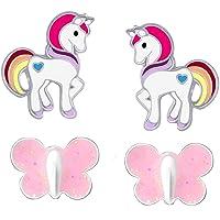 FIVE-D Set di 2 paia di orecchini per bambini a forma di unicorno con farfalla in argento 925 con custodia. e Argento…