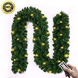 Morbuy Weihnachtsgirlande mit Beleuchtung, Tannengirlande Remote 8 Modus Lichterkette Weihnachten Dekoration 2.7 Meter für Innen und Außen Verwendbar (240)
