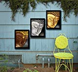Tied Ribbons Buddha Painting Framed Wall Art Paintings For Outdoor Decoration | Garden Decor Accessories Set Of 3 (13.6 Inch X 10.2 Inch)
