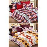 Story@Home Premium Magic Combo 152 TC 2 Pieces Bedsheets with 4 Pillow Covers - Maroon, Yellow
