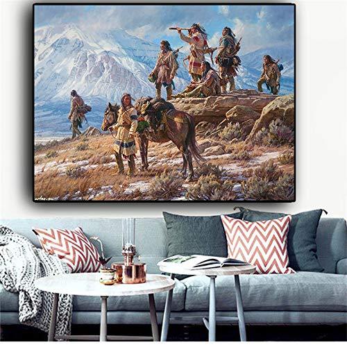 HSXF Indian Aboriginal Landschaft abstrakte Ölgemälde Leinwand Poster und Druck Wandkunst Bild für Wohnzimmer Korridor Schlafzimmer Dekoration kein Rahmen 80x120cm