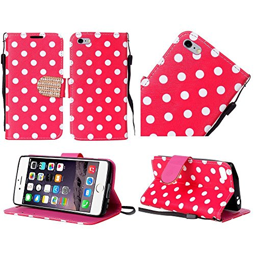 iPhone 6Plus Case, Bastex PU Leder Bling Flip Wallet Kreditkarte Schutzhülle für iPhone 6Plus, 6S Plus, Hot Pink Polka Dots - Bling Dots
