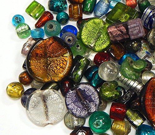 Glas Perlen Nur Silberfolie Lampwork Fancy Rund Oval Konvolut Bunt Perlenset Bastelset Für Schmuck zur Schmuckherstellung von Halsketten Armband DIY Basteln Schmuck Design (250) ()