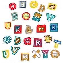 Parche de letras coloridas para el alfabeto, coser o planchar, para vaqueros, ropa