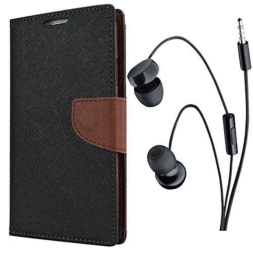 Avzax® Stylish Luxury Magnetic Lock Diary Wallet Style Flip Cover Case for Micromax Canvas Nitro A311 (Black) + in Ear Headphone
