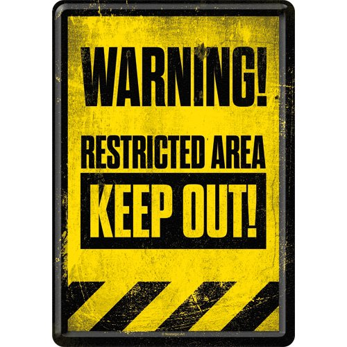 Nostalgic-Art Warning Restricted Area Keep out Metal Postcard/Mini-Sign (na)