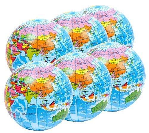 Stressballs 6 x Atlas, Globus Klien, Weltkarte Smiley Stress Ball, Kleiner Globus - Grosse Stresserleichterung, Autismussserleichterung