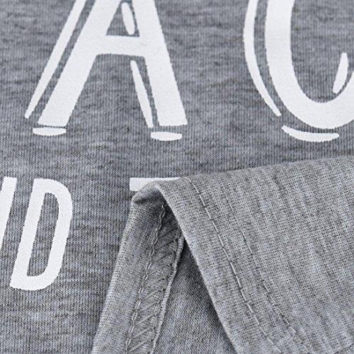 Amuster Womens Lettre Imprimer Sexy Débardeur Débardeur Débardeur Gilet Chemisier T-shirt Gris