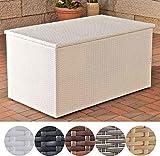 CLP Polyrattan-Aufbewahrungsbox I Gartentruhe für Kissen und Auflagen I In verschiedenen Farben und Größen erhältlich XL = 740 Liter, Weiß