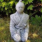 Steinfigur Samurai frostfest Deko Garten Japan Buddhismus Feng Shui Figur